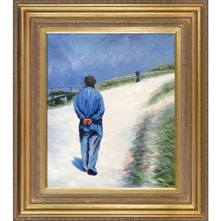 Gustave Caillebotte Homme portant une blouse Hand Painted Framed Canvas Art