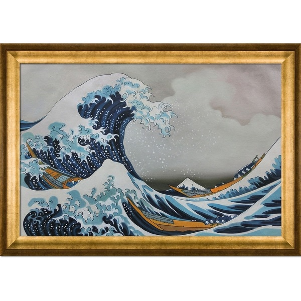 Katsushika Hokusai The Great Wave off Kanagawa Hand Painted Framed Canvas Art