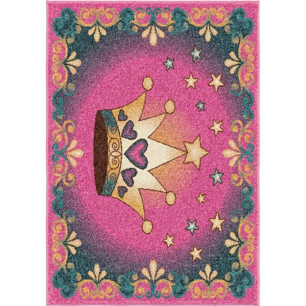 Innocence Collection Queen for a Day Pink Olefin Area Rug