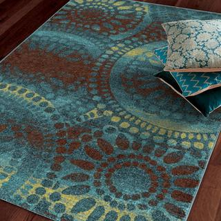 Melodic Collection Sentimental Moments Aqua Olefin Area Rug