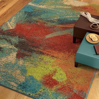 Vibrance Collection Opulent Abstract Multi Olefin Area Rug (5' 3 x 7' 6)