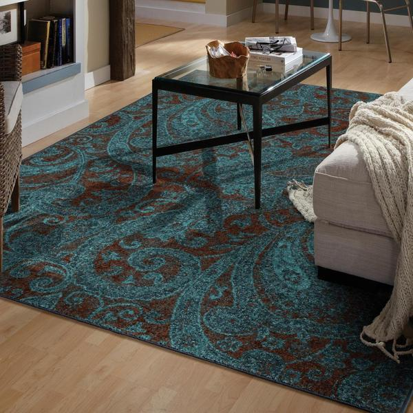 Melodic Collection Delightful Paisley Aqua Olefin Area Rug