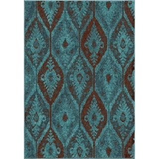 Melodic Collection Magestically Aqua Olefin Area Rug