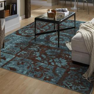 Melodic Collection Ornate Patchwork Aqua Olefin Area Rug