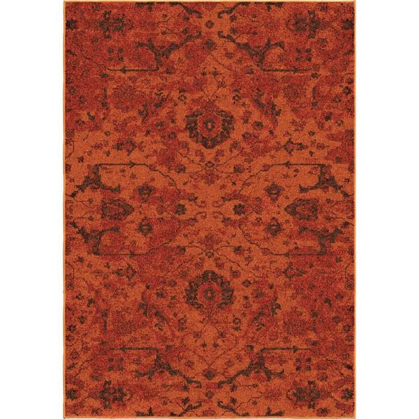 Melodic Collection Spectacular Red Olefin Area Rug 6'7 x 9'8