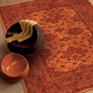 Melodic Collection Vintage Posh Red Olefin Area Rug