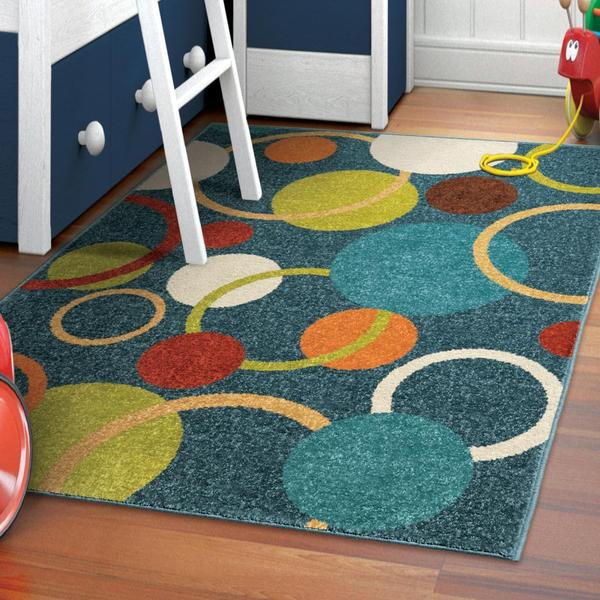 Innocence Collection Circles in the Sky Blue Olefin Area Rug
