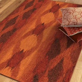 Melodic Collection Glorious Red Olefin Area Rug