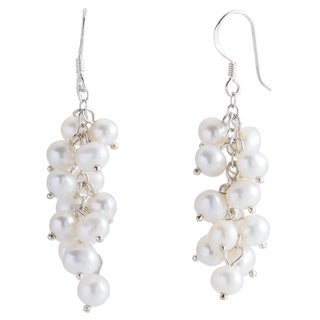 Kele & Co's .925 Sterling Silver Freshwater Pearl Cluster Earrings