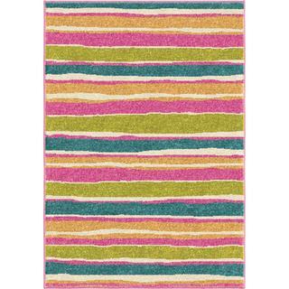 Innocence Collection Dreamy Stripe Pink Olefin Area Rug
