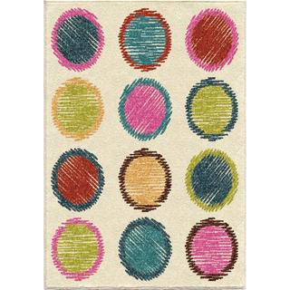 Innocence Collection Fill in the Circle Multi Olefin Area Rug