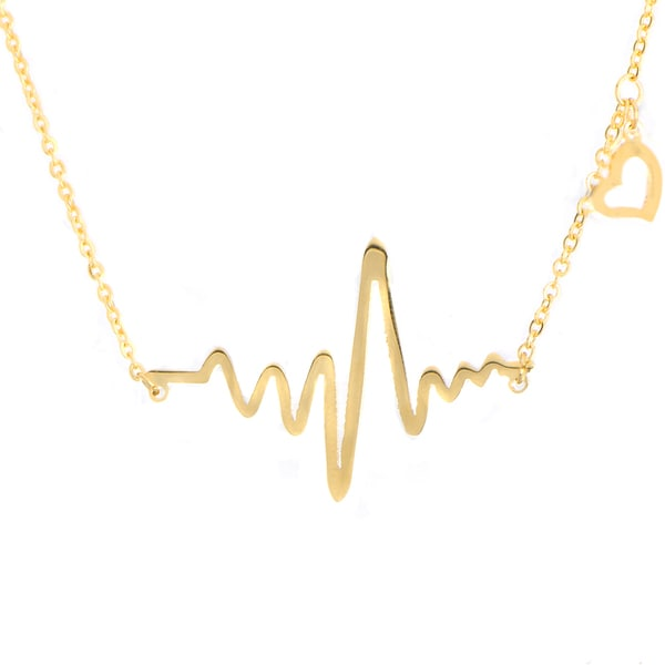 Goldtone Heartbeat Charm Necklace