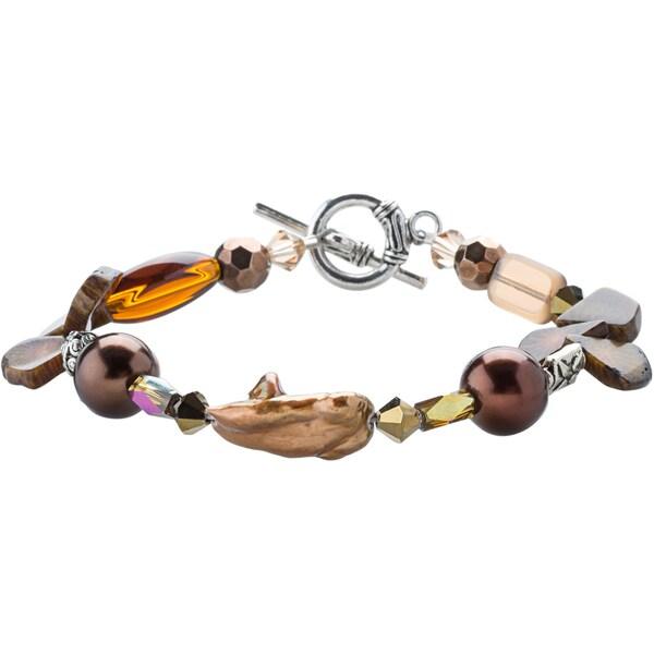 Kele & Co Brown Pearl, Agate and Crystal Beaded Bracelet