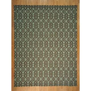 Light Green Durie Kilim Flat Oriental Rug (9'3 x 12')