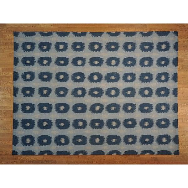Sky Blue Reversible Durie Kilim Rug (8'9 x 11'10)