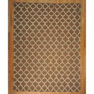 Chocolate Brown Embossed Pile Moroccan Hand-knotted Rug (9'1 x 12')