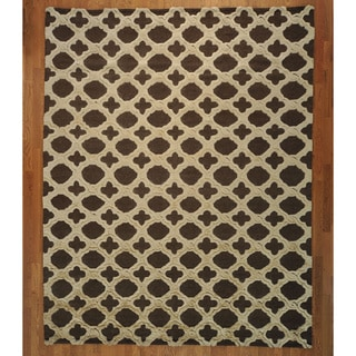 Moroccan Mosaic Design Raised Pile Hand-Knotted Wool Rug (9'3 x 11'7)