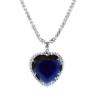 Fancy Blue Heart Cubic Zirconia Necklace