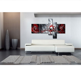 Huge 92 x 48 5-piece Red Abstract Oil Painting