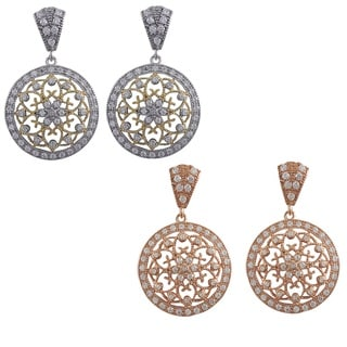 Sterling Silver Cubic Zirconia Filigree Celtic Circle Medallion Earrings