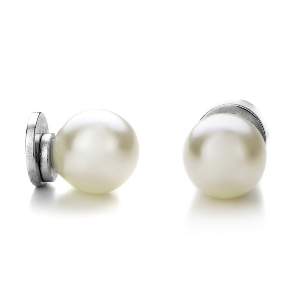 7mm White Simulated Pearl Magnetic Earrings