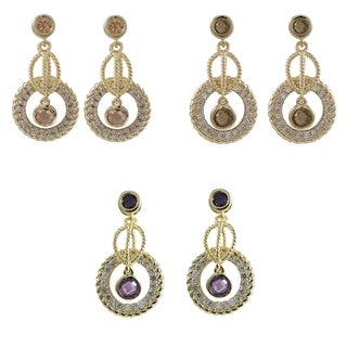 Gold Finish Colored Cubic Zirconia Braided Circle Drop Earrings
