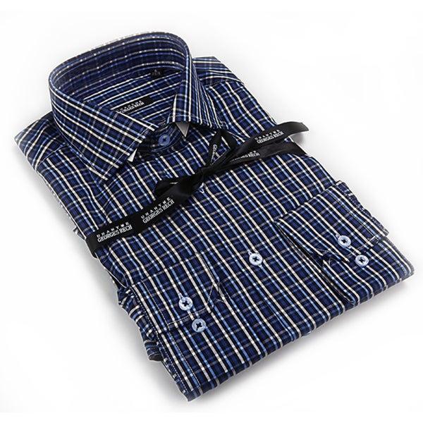 George Rech Men's White Blue/ Green/ White Plaid Button Down Fashion Shirt