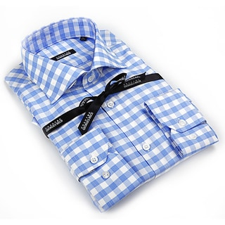 George Rech Men's Blue / White Plaid Button Down Fashion Shirt