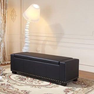 Royal Comfort Koket Black Faux Leather Luxury Ottoman