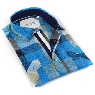 John Lennon Men's Blue Blue Plaid Sport Shirt