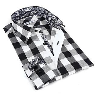 John Lennon Men's Black and White Plaid Sport Shirt