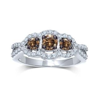 Unending Love 10k White Gold 1/2ct TDW 3-stone Diamond Ring (I-J, I1-I2)