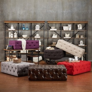 TRIBECCA HOME Knightsbridge Rectangular Linen Tufted Cocktail Ottoman with Casters
