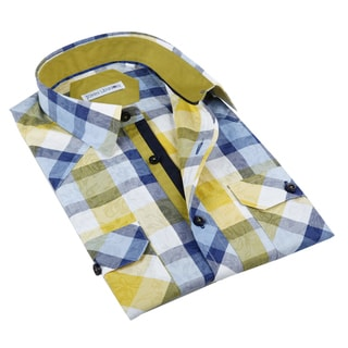 John Lennon Men's Yellow and Blue Plaid Sport Shirt