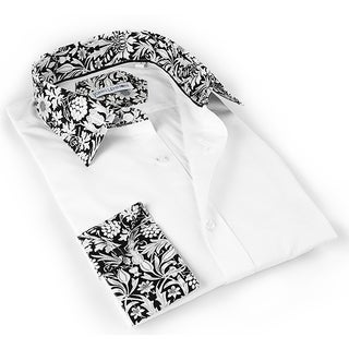 John Lennon Men's White and black White and Black Foilage Trim Dress Shirt