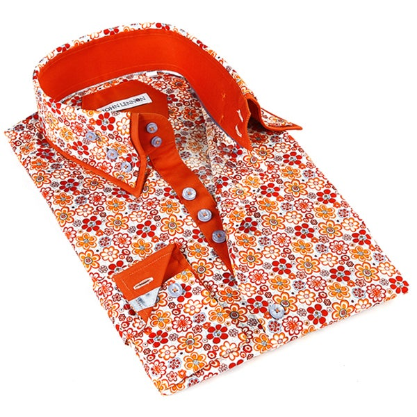 John Lennon Men's Red Floral Print Sport Shirt