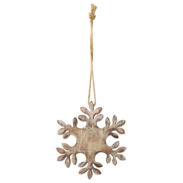 Sage & Co Sage & Co. Carved Wood Snowflake Christmas Ornament (Pack of 2)