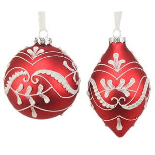 Sage & Co. Glass Lace Pattern Christmas Ornament (Pack of 6)