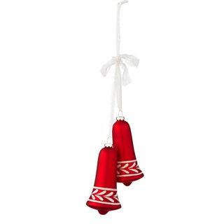 Sage & Co Sage & Co. Red Glass Bell Drop Christmas Ornament (Pack of 12)
