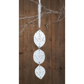Sage & Co Sage & Co. Silver Etched Mirror Drop Christmas Ornament (Pack of 10)