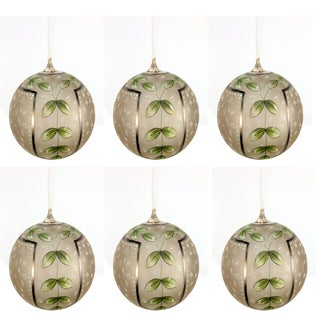 Sage & Co Sage & Co. Glass Hand-painted Ball 4.75-inch Christmas Ornament (Pack of 6)