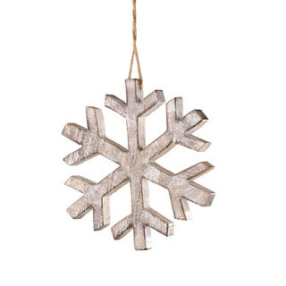 Sage & Co Sage & Co. Wood Snowflake 7.5-inch Christmas Ornament (Pack of 4)