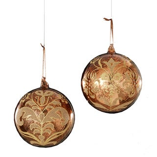 Sage & Co Sage & Co. 6-inch Glass Arabesque Ball Assorted Christmas Ornaments (Set of 6)