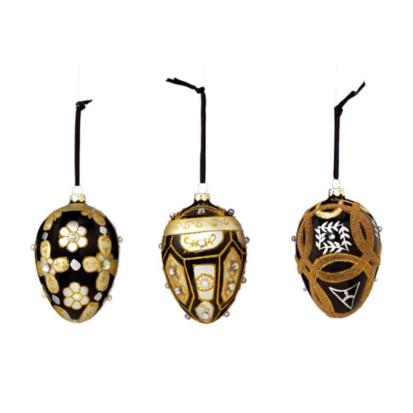 Sage & Co Sage & Co. 4.25-inch Assorted Glass Pattern Egg Christmas Ornaments (Set of 3)