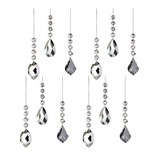 Sage & Co Sage & Co. 7-inch Crystal Drop Assorted Christmas Ornaments (Pack of 12)