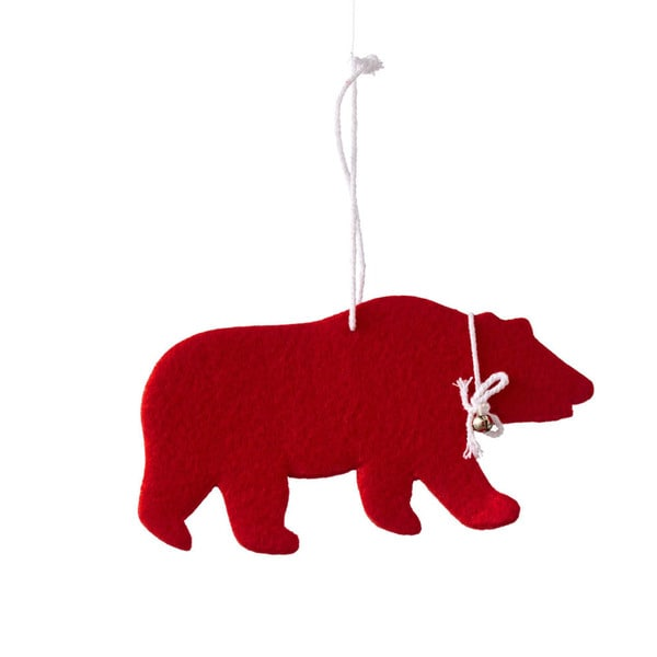Sage & Co Sage & Co. Red Felt Bear 8-inch Christmas Ornament (Pack of 12)