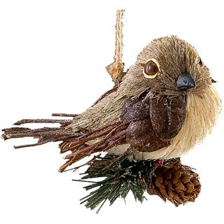 Sage & Co Sage & Co. Sisal Bird With Pine 5.5-inch Ornament (Pack of 8)