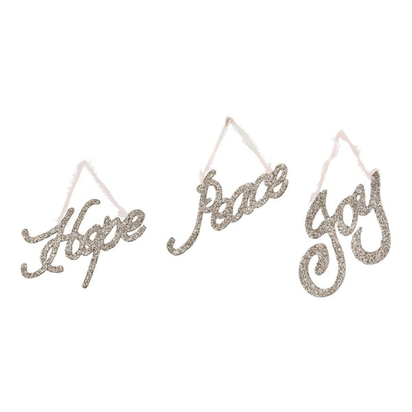 Sage & Co Sage & Co. 5-inch Platinum 'Peace, Joy, Hope' Wood Cut Out Christmas Ornaments (Pack of 12)