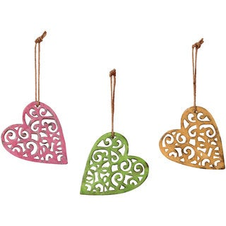 Sage & Co Sage & Co. 6.25-inch Carved Wood Heart Shape Christmas Ornaments (Pack of 6)