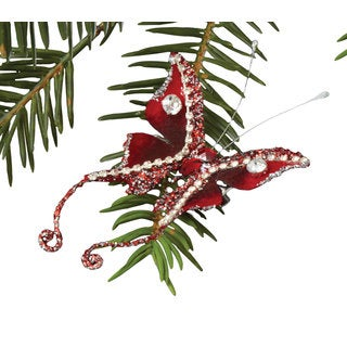 Sage & Co Sage & Co. 4-inch Red Beaded Christmas Butterfly Clip-on Ornament (Pack of 12)